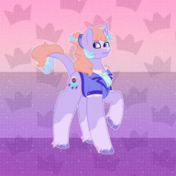 Size: 3000x3000 | Tagged: safe, oc, pony, unicorn, clothes, fancy clothing, grumpy, multicolored hair, ponytail, rainbow background, simple background, solo