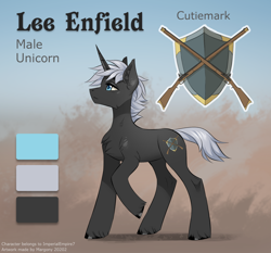Size: 1286x1200 | Tagged: safe, artist:margony, oc, oc:lee enfield, unicorn, male, reference sheet