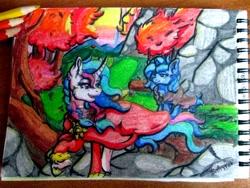 Size: 2560x1920 | Tagged: safe, artist:batrina7, princess celestia, princess luna, alicorn, pony, braid, clothes, duo, female, looking back, mare, notepad, pencil, raised hoof, siblings, sisters, traditional art