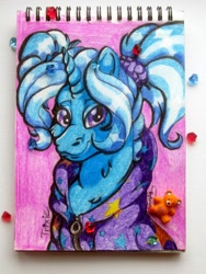 Size: 1620x2160 | Tagged: safe, artist:batrina7, trixie, unicorn, alternate hairstyle, babysitter trixie, clothes, female, hoodie, mare, notepad, pigtails, solo, traditional art