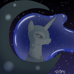Size: 1000x1000 | Tagged: safe, artist:empyu, nightmare moon, alicorn, 30 minute art challenge, moon