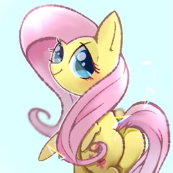 Size: 768x768 | Tagged: safe, artist:tomizawa96, fluttershy, pegasus, pony, blue background, blushing, butt, cute, dock, looking at you, looking back, looking back at you, plot, simple background, smiling, solo