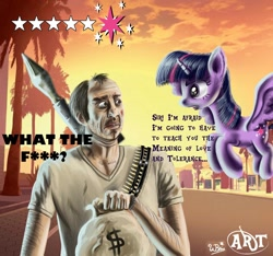 Size: 1152x1080   Tagged: safe, artist:arkhat, twilight sparkle, alicorn, human, pony, crossover, female, grand theft auto, gta v, male, mare, redraw, rpg (weapon), this will end in pain and property damage, this will end in tears, trevor philips, twilight sparkle (alicorn), video game, weapon