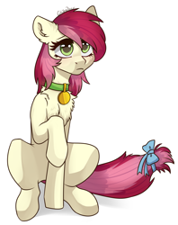 Size: 2196x2778 | Tagged: safe, artist:chibadeer, roseluck, pony, bow, chest fluff, collar, cute, ear fluff, pet tag, pony pet, raised hoof, rosepet, signature, simple background, sitting, solo, tail bow, white background