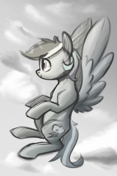 Size: 1000x1500 | Tagged: safe, artist:silverhopexiii, rainbow dash, pegasus, pony, flying, monochrome, solo