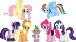 Size: 2000x1118 | Tagged: safe, artist:theedgyduck, edit, vector edit, applejack, fluttershy, pinkie pie, rainbow dash, rarity, spike, twilight sparkle, dragon, earth pony, pegasus, unicorn, .mov, apple.mov, dress.mov, magic.mov, party.mov, shed.mov, spike.mov, swag.mov, alternate cutie mark, alternative hair style, bags under eyes, clothes, fluttershed, group, implied weed, mane seven, mane six, pony.mov, simple background, stitches, transparent background, vector