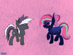 Size: 902x677 | Tagged: safe, artist:cosmiceclipsed, derpibooru exclusive, oc, oc only, oc:sine wave, oc:zipper, bat pony, pegasus, pony, bat pony oc, bat wings, dancing, ear fluff, fangs, female, male, mare, membranous wings, pegasus oc, simple background, slit eyes, slit pupils, stallion, wings