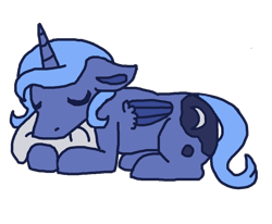 Size: 4000x3300 | Tagged: safe, artist:theedgyduck, princess luna, alicorn, cute, eyes closed, female, filly, filly luna, lunabetes, mare, pillow, s1 luna, simple background, sleeping, solo, transparent background, woona, younger