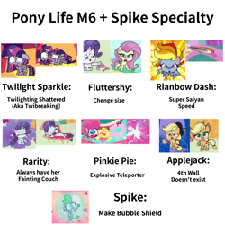 Size: 2000x2000 | Tagged: safe, applejack, dishwater slog, fluttershy, pinkie pie, rainbow dash, rarity, spike, twilight sparkle, alicorn, dragon, pony, cute-pocalypse meow, how applejack got her hat back, my little pony: pony life, princess probz, the best of the worst, spoiler:pony life s01e01, spoiler:pony life s01e02, spoiler:pony life s01e03, spoiler:pony life s01e04, broken, fainting couch, fourth wall, giant pegasus, mispelled names, shattered, simple background, squishy cube, twibreaking, twilight sparkle (alicorn), twilighting, white background, winged spike