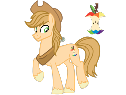 Size: 4500x3375 | Tagged: safe, artist:avatarmicheru, oc, oc:applecore, earth pony, hybrid, pony, hat, interspecies offspring, male, offspring, parent:applejack, parent:discord, parents:applecord, simple background, solo, stallion, transparent background