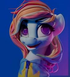 Size: 1920x2112   Tagged: safe, artist:sceathlet, rainbow dash, pegasus, pony, 3d, bust, clothes, female, looking at you, mare, portrait, simple background, solo, uniform, wonderbolts uniform