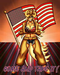 Size: 1200x1500 | Tagged: safe, artist:korencz11, applejack, anthro, 4th of july, american flag, american flag bikini, american independence day, amerijack, badass, belt, belt buckle, breasts, busty applejack, chaps, cleavage, clothes, cowboy hat, daisy dukes, female, flag bikini, hat, holiday, patriotic, patriotism, shorts, solo, stetson