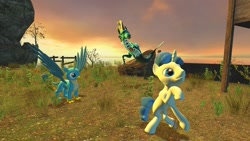 Size: 1280x720 | Tagged: safe, artist:horsesplease, gallus, party favor, sonata dusk, griffon, siren, unicorn, 3d, blue, gmod, thinking