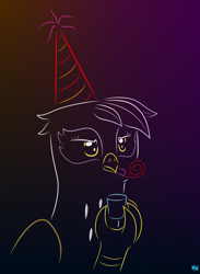 Size: 696x950 | Tagged: safe, artist:quint-t-w, gilda, griffon, annoyed, atg 2020, bust, female, glass, gradient background, hat, minimalist, modern art, newbie artist training grounds, noisemaker, party hat, shot glass, solo, unamused