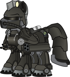Size: 5933x6484 | Tagged: safe, artist:vector-brony, oc, oc only, oc:steelhooves, fallout equestria, absurd resolution, armor, commander, male, power armor, simple background, solo, steel ranger, transparent background, vector