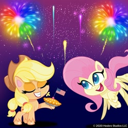 Size: 1080x1080 | Tagged: safe, applejack, fluttershy, earth pony, pegasus, pony, my little pony: pony life, 4th of july, american flag, american independence day, eyes closed, fireworks, flag, flying, food, holiday, independence day, night, official, pie, united states