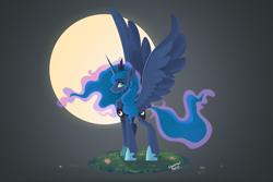 Size: 1500x1000 | Tagged: safe, artist:liquorice_sweet, princess luna, alicorn, pony, female, moon, solo