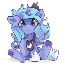 Size: 1000x1000   Tagged: safe, artist:liquorice_sweet, princess luna, alicorn, chest fluff, crown, cute, ear fluff, female, filly, foal, jewelry, lunabetes, raised hoof, regalia, simple background, smiling, solo, spread wings, transparent background, weapons-grade cute, wings, woona, younger