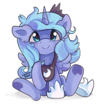 Size: 1000x1000 | Tagged: safe, artist:liquorice_sweet, princess luna, alicorn, chest fluff, crown, cute, ear fluff, female, filly, foal, jewelry, lunabetes, raised hoof, regalia, simple background, smiling, solo, spread wings, transparent background, weapons-grade cute, wings, woona, younger