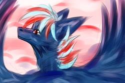 Size: 2560x1707   Tagged: artist needed, safe, oc, oc:hellfire, dragon, blue fur, fur, fur dragon, implied pegasus, male, red eyes, sky, wings