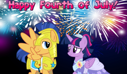 Size: 2064x1204 | Tagged: safe, flash sentry, twilight sparkle, alicorn, the last problem, 4th of july, armor, clothes, coronation dress, dress, female, fireworks, flashlight, holiday, looking at each other, male, royal guard, royal guard armor, second coronation dress, shipping, smiling, straight, twilight sparkle (alicorn)