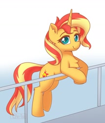 Size: 1426x1669 | Tagged: safe, artist:puetsua, sunset shimmer, pony, unicorn, backwards cutie mark, bipedal, bipedal leaning, chest fluff, cute, ear fluff, female, handrail, leaning, lidded eyes, looking at you, mare, raised leg, shimmerbetes, smiling, solo