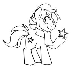 Size: 4107x3984   Tagged: artist needed, source needed, safe, oc, oc only, oc:esperanta poneo, earth pony, pony, closed mouth, clothes, commission, cute, esperanto, male, monochrome, solo, stallion