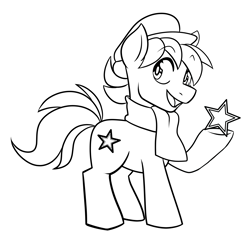 Size: 4107x3984   Tagged: artist needed, source needed, safe, oc, oc only, oc:esperanta poneo, earth pony, pony, clothes, commission, cute, esperanto, male, monochrome, open mouth, solo, stallion