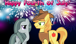 Size: 2064x1203 | Tagged: safe, braeburn, marble pie, 4th of july, braeble, female, fireworks, holiday, looking at each other, lyrics in the description, male, night, shipping, smiling, straight, youtube link