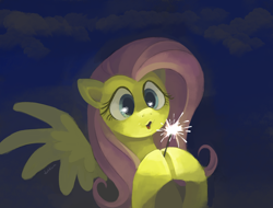 Size: 1312x996 | Tagged: safe, artist:dotkwa, fluttershy, pegasus, pony, bust, cloud, cute, eye reflection, female, hoof hold, hooves together, looking at something, mare, open mouth, painting, puckered lips, reflection, shyabetes, solo, sparkler (firework), spread wings, three quarter view, wings