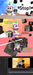 Size: 1920x4320 | Tagged: safe, artist:papadragon69, spike, dragon, comic:spike's cyosa, 3d, breaking the fourth wall, choose your own adventure, comic, cyoa, dialogue, fourth wall, male, meta, older, older spike, source filmmaker, talking to the artist, talking to viewer, teenage spike, teenager, winged spike