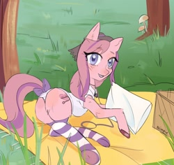 Size: 1700x1602 | Tagged: safe, artist:blimpie, oc, oc only, oc:sweet haze, earth pony, accessories, blanket, bow, clothes, collar, earth pony oc, femboy, grass, hat, leash, looking at you, male, mushroom, outdoors, picnic, picnic blanket, pillow, socks, striped socks, striped underwear, tail bow, underwear