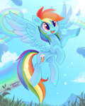 Size: 1000x1250 | Tagged: safe, artist:liquorice_sweet, rainbow dash, pegasus, pony, blue sky, cute, dashabetes, female, flying, mare, open mouth, rainbow, solo, sun