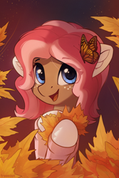 Size: 2000x3000 | Tagged: safe, artist:freeedon, oc, oc only, oc:ginger bread, butterfly, earth pony, pony, autumn, clothes, commission, eye clipping through hair, female, freckles, leaves, looking at you, mare, monarch butterfly, smiling, solo, sweater