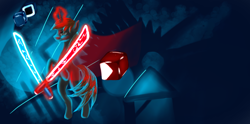 Size: 1800x890 | Tagged: source needed, safe, artist:lavenderwind, oc, oc only, oc:darkmind, pony, unicorn, beat saber, blind, glowing horn, horn, levitation, lineless, magic, male, solo, stallion, sword, telekinesis, weapon