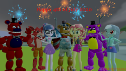 Size: 3840x2160 | Tagged: safe, artist:optimussparkle, sci-twi, sunset shimmer, twilight sparkle, oc, oc:heart mouse, equestria girls, 3d, 4th of july, firework freddy, fireworks, five nights at freddy's, five nights at freddy's ar special delivery, fnaf oc, holiday, non-mlp oc, one eye closed, source filmmaker, wink