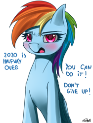 Size: 1500x2000 | Tagged: safe, artist:nixworld, rainbow dash, pegasus, pony, big eyes, blushing, cute, motivational poster, sitting, talking, talking to viewer