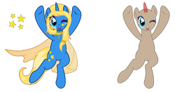 Size: 5884x3084 | Tagged: safe, artist:mycaro, oc, unicorn, base, cape, choker, clothes, convention, cute, cutie mark, europon, eyeshadow, looking at you, makeup, mascot, ocbetes, one eye closed, smiling, smiling at you, solo