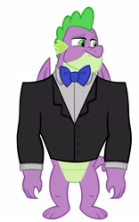Size: 1280x2054 | Tagged: safe, artist:disneymarvel96, artist:memnoch, edit, vector edit, spike, dragon, bowtie, clothes, gigachad spike, male, older, older spike, simple background, solo, suit, tuxedo, vector, winged spike, wings