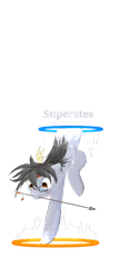 Size: 1000x2000   Tagged: artist needed, safe, oc, oc only, oc:silver bristle, earth pony, pony, arrow, digital art, glasses, indian, male, mouth hold, portal, portal (valve), simple background, stallion, transparent background