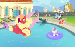 Size: 3200x2000   Tagged: safe, anonymous artist, apple bloom, applejack, big macintosh, boulder (pet), cookie crumbles, fluttershy, hondo flanks, maud pie, pinkie pie, rainbow dash, rarity, scootaloo, spike, sweetie belle, tank, trixie, twilight sparkle, alicorn, earth pony, pegasus, unicorn, series:fm holidays, 4th of july, bridal carry, cannonball, carrot, carrot dog, carrying, cheering, clothes, cutie mark crusaders, diving board, fan, fanning, female, filly, fireworks, fluttermac, food, grill, hawaiian shirt, holiday, hoof hold, inner tube, lineless, lounge chair, male, mane seven, mane six, mare, no pupils, nose in the air, one eye closed, pool party, shipping, shirt, stallion, straight, sunglasses, swimming pool, swimsuit, tanning mirror, trenchcoat, twilight sparkle (alicorn), underhoof, volumetric mouth, wet mane