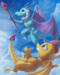 Size: 1600x2000 | Tagged: safe, artist:auroriia, artist:rocket-lawnchair, princess ember, smolder, dragon, bloodstone scepter, collaboration, dragon lord ember, dragoness, duo, female, flying, looking at each other, smiling