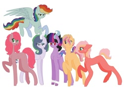 Size: 1280x909   Tagged: safe, artist:guineapigrock03, oc, oc only, unnamed oc, dracony, earth pony, hybrid, pegasus, pony, unicorn, base used, blank flank, earth pony oc, flying, group, hoof fluff, horn, horns, interspecies offspring, magical lesbian spawn, next generation, offspring, parent:applejack, parent:big macintosh, parent:cayenne, parent:cheese sandwich, parent:discord, parent:fluttershy, parent:rainbow dash, parent:rarity, parent:spike, parent:twilight sparkle, parents:cayennejack, parents:cheesedash, parents:discolight, parents:fluttermac, parents:sparity, pegasus oc, raised hoof, simple background, standing, unicorn oc, white background, wings