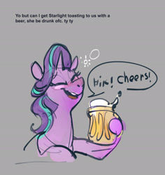 Size: 1815x1924 | Tagged: safe, artist:alumx, starlight glimmer, pony, unicorn, alcohol, beer, blushing, dialogue, drunk, drunker glimmer, female, hiccup, mare, onomatopoeia, sketch, solo, toasting