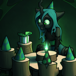 Size: 2000x2000 | Tagged: safe, artist:ohemo, queen chrysalis, anthro, changeling, changeling queen, atg 2020, cute, cutealis, female, hat, log, lonely, newbie artist training grounds, open mouth, party, party hat, present, solo, table