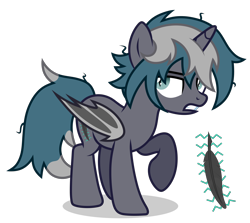 Size: 3350x2984 | Tagged: safe, artist:oyks, oc, oc only, oc:elizabrat meanfeather, alicorn, bat pony, bat pony alicorn, pony, alicorn oc, annoyed, bat pony oc, bat wings, clone, female, horn, mare, messy mane, raised hoof, simple background, solo, transparent background, wings