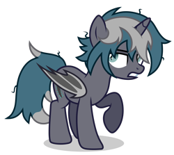 Size: 3350x2984 | Tagged: safe, alternate version, artist:oyks, oc, oc only, oc:elizabrat meanfeather, alicorn, bat pony, bat pony alicorn, pony, alicorn oc, annoyed, bat pony oc, bat wings, clone, female, horn, mare, messy mane, raised hoof, simple background, solo, transparent background, wings