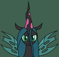 Size: 765x750 | Tagged: safe, artist:nopony, queen chrysalis, changeling, changeling queen, atg 2020, bust, female, hat, looking at you, newbie artist training grounds, party hat, spread wings, unamused, wings