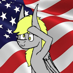 Size: 900x900 | Tagged: safe, artist:cococandy2007, derpy hooves, pegasus, pony, 4th of july, :3, american flag, female, flag, holiday, mare, patriotic, salute, solo, united states
