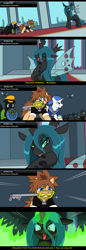 Size: 878x2558 | Tagged: safe, artist:droll3, queen chrysalis, changeling, changeling queen, earth pony, pegasus, pony, unicorn, boss fight, comic, crossover, digital art, donald duck, evil grin, female, fire, glowing horn, goofy, grin, hat, horn, keyblade, kingdom hearts, laughing, magic, ponified, smiling, sora, text, wings